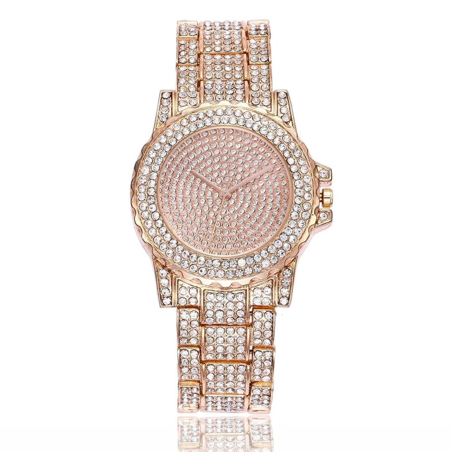 Swyss Women Fashion Trend Watch diamond Luxury Analog Quartz Round Wrist Watch Chic Temperament Jewelry (Rose Gold)