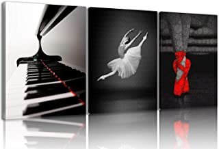 NAN Wind 3 Pcs Dance Canvas Prints Black and White Red Ballet Shoes Piano Keyboard Wall Art Ballet Dancer Girl Wall Decor Paintings on Canvas Stretched and Framed Ready to Hang for Home Decor
