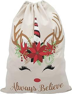 THOUSMOON Unicorn Christmas Bag Santa Sack with Drawstring Reindeer Red Express Delivery Design Gift Bag Xmas Presents Large Size 19x27 (Unicorn 2)