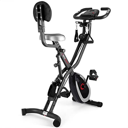 Ultrasport F-Bike 400BS Cross Bike Trainer, Backrest, Strap System, LCD Display, App, Collapsible, Dark Grey/Black