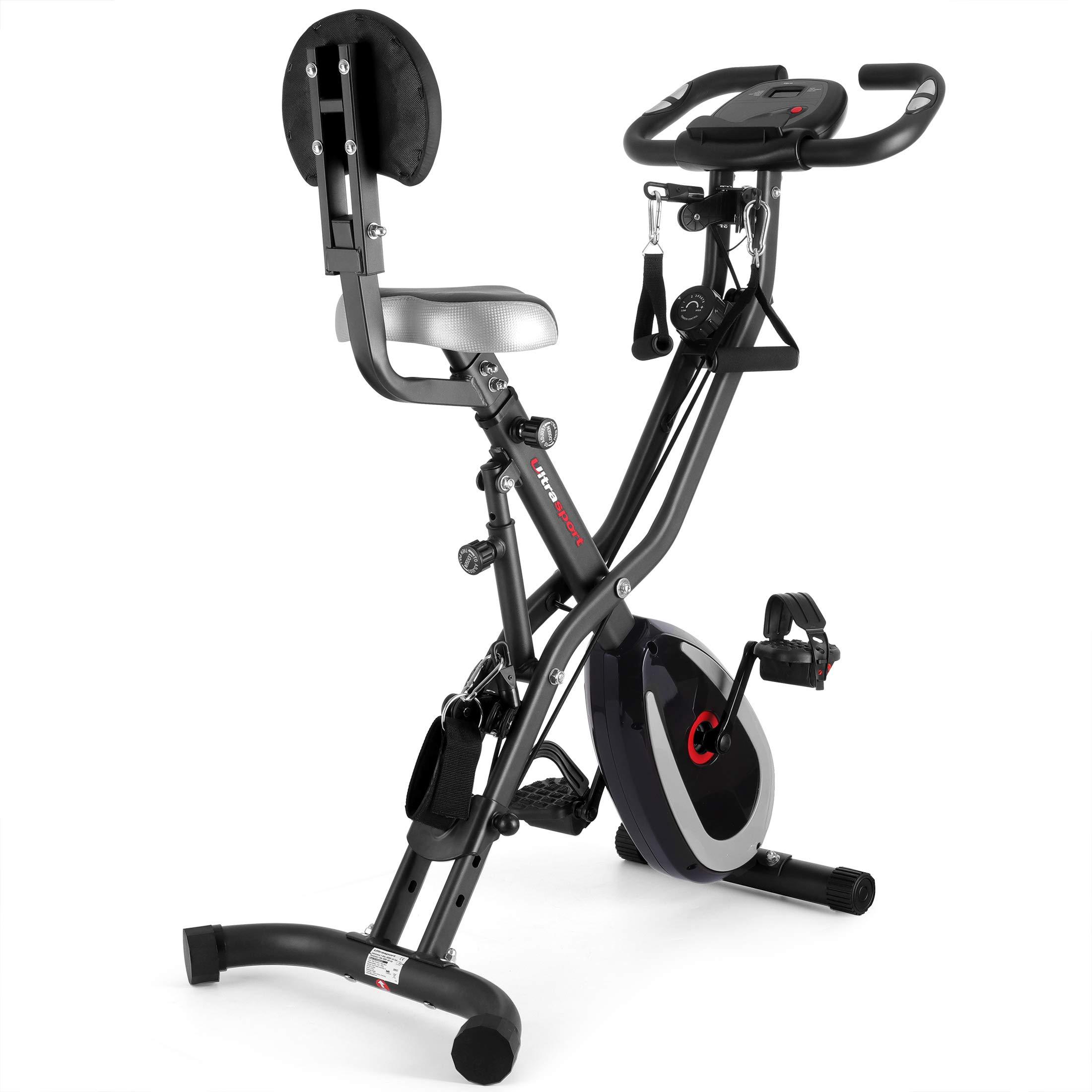 Ultrasport F-Bike 400BS Bicicleta estática Plegable, tracción, Pantalla y App, F-Bike 400BS con Respaldo/Cuerdas & APP, Unisex, Gris Oscuro / Negro: Amazon.es: Deportes y aire libre
