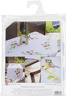 Vervaco Tischläufer Meise & Stiefmütterchen Bedruckte Decke/Läufer mit Webrand, Baumwolle, Mehrfarbig, 40 x 100 x 0,3 cm