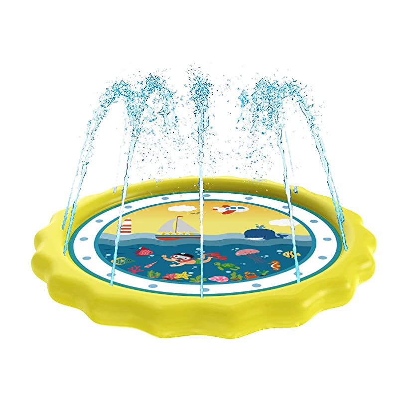 """HITOP Sprinkler for Kids, Splash Pad & Baby Pool 3-in-1 60"""" Outdoor Toys for 1 2 3 4 5 Year Old Boys Girls - """"Know The Ocean"""" Learning Water Play Mat Toys for Kids, Babies and Toddlers"""