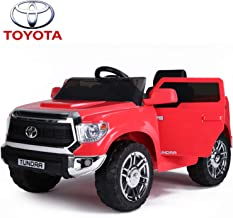IKON MOTORSPORTS Licensed Toyota Tundra 12V Ride On Car with Remote Control, Electric Pickup Truck for Kids to Drive, Openable Doors, Music Player, Led Lights - Red