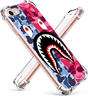 Hiiyorr Blue Shark TPU Case for iPhone 8/7/SE 2020,Clear Cute Cartoon Clear Ultra-Thin Pattern Protective Designer Cover for Boys Men Teens,Trendy Bumper Skin for iPhone 8/7/SE 2020 4.7""