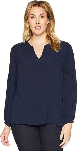 Plus Size Bubble Sleeve Soft Texture V-Neck Blouse