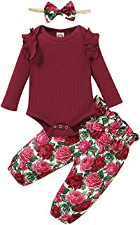 Tabpole Kleinkind Baby Mädchen Outfits Rüschen Strampler  Blumenhose  Stirnband Winter Herbst Kleidung Anzug