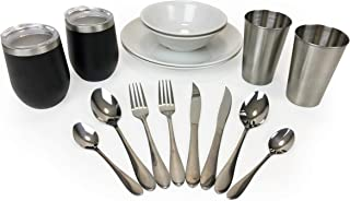 LUXURY CAMPING UTENSILS SET for 2- Includes Camping Silverware Set, Insulated Camping Mugs, Camping Plates Cups And Bowls ...