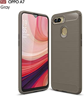 Oppo A7 Case, Silicone Leather[Slim Thin] Flexible TPU Protective Case Shock Absorption Carbon Fiber Cover for Oppo A7 Case(Gray)