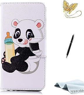 TOUCASA Huawei Mate 10 Lite Handyhülle,Huawei Mate 10 Lite Hülle, Brieftasche flip PU Leder ledercaseHülle Kartenfächer Leinwand Farbmalerei Art fürHuawei Mate 10 Lite (Baby Panda)+StylusPen