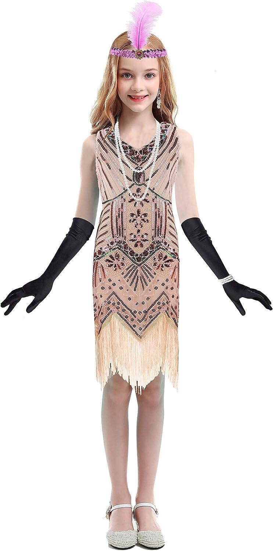 Girls Flapper Dresses 1920s Beaded Fringed Great Gatsby Dress