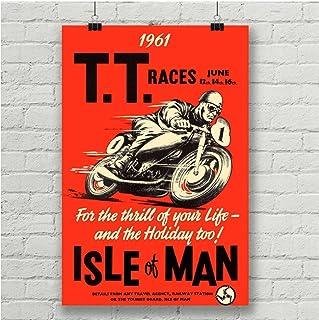 FRTTCYO Affiche Affiche de Course de Moto Vintage île de Man Affiche de Film de Peinture Murale décorative -60x80cmx1 sans...