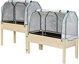 2 Greenhouse Cover + Wooden 2 Tiers Elevated Raised Garden Bed Planter Box for Flower Vegetable Grow, Natural Cedar Wood Frame Gardening Planting Bed,Easy Assembly (2 Tiers Raised Beds + 1 Greenhouse)