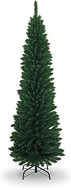 SHATCHI - Matita artificiale floccata sottile per albero di Natale, decorazioni per la casa, con punte a punta e supporto in