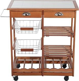 HOMCOM 2454140031 carrito cocina servicio auxiliar madera
