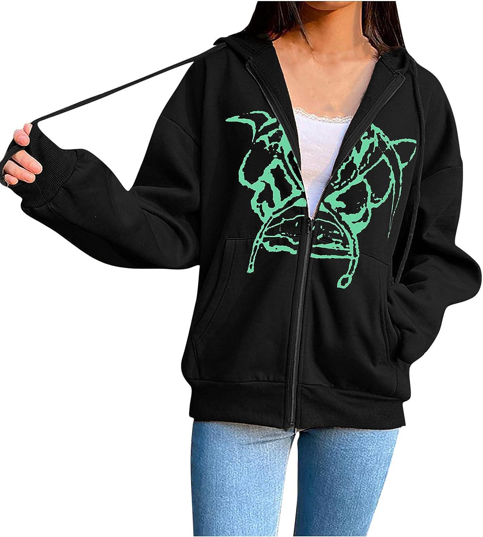 Women's Hoodie Coat Autumn Loose Plus Size Fleece Fashion Printed Long Sleeve Casual Zip Sweatshirt Jacket