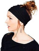 Noir LUOEM Femmes Hairband Litt/éraire Artistique Style R/étro Suede Cheveux Ruban Simple Pur Couleur Croix Elastique Bandeau Cheveux Accessoires