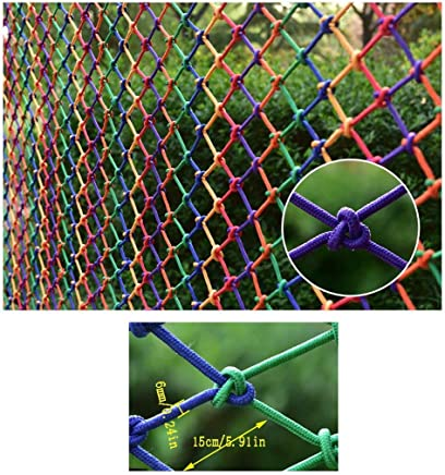 HWJ Children Fall Protection Safety Net Child Safety Net Stair Balcony Protection Net Color Decorative Net Bird Rope Net Goods Net Rope Durable Weatherproof Mesh 150x150mm 6mm Rope  Size 5x5m