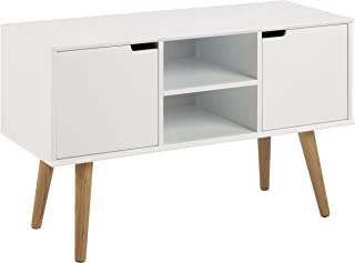 AC Design Furniture Aparador Mariela Puertas 2 Piezas Piso 1 Pieza de Madera Blanco 96 x 38 x 62.5 cm