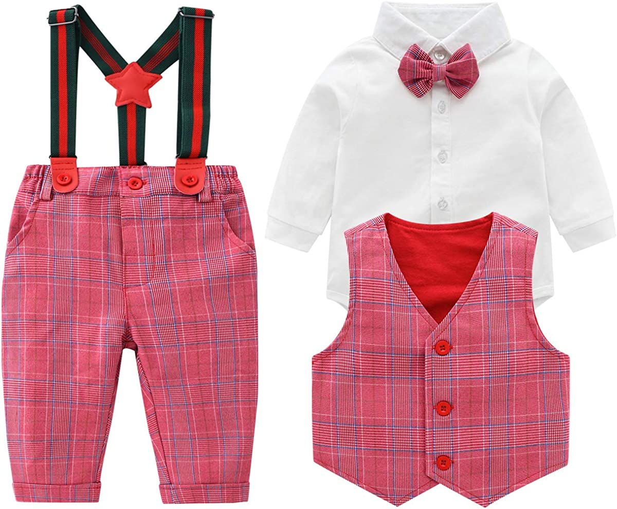 Baby Boys Gentleman Sale Special Price Outfits overseas Suits Shirt+Bib Infant Long Sleeve