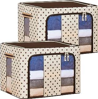 衣装ケース 収納ボックス 布団ケース 2個セット60x42x40 cm 大容量の防水性 防湿性 耐スクラッチ性のオックスフォードクロス 簡単に積み重ねるための厚いスチールリングで折りたたみ、透明な窓と両開きドア付きの衣類収納ケース 100L