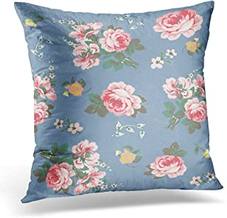 SPXUBZ Blue Rose Floral Pattern Pink Vintage Abstract Decorative Home Decor Square Indoor/Outdoor Pillowcase Size: 20X20 Inch(Two Sides)