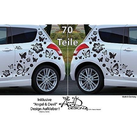 A D Design Deutschland Xl Set Autoaufkleber Hibiskus Blumen Schmetterlinge 70 Teilig Weiss Auto