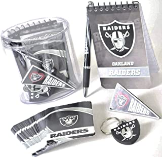 Oakland Raiders Gift Box Set, Includes Playing Cards, memo pad, Pen, Key Ring, and Magnet.