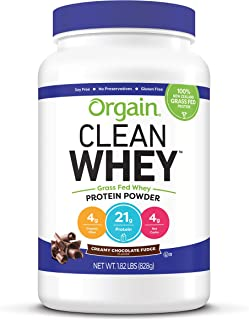 Orgain Grass Fed Clean Whey Protein Powder, Creamy Chocolate Fudge - Low Net Carbs, Gluten Free, Soy Free, No Sugar Added,...