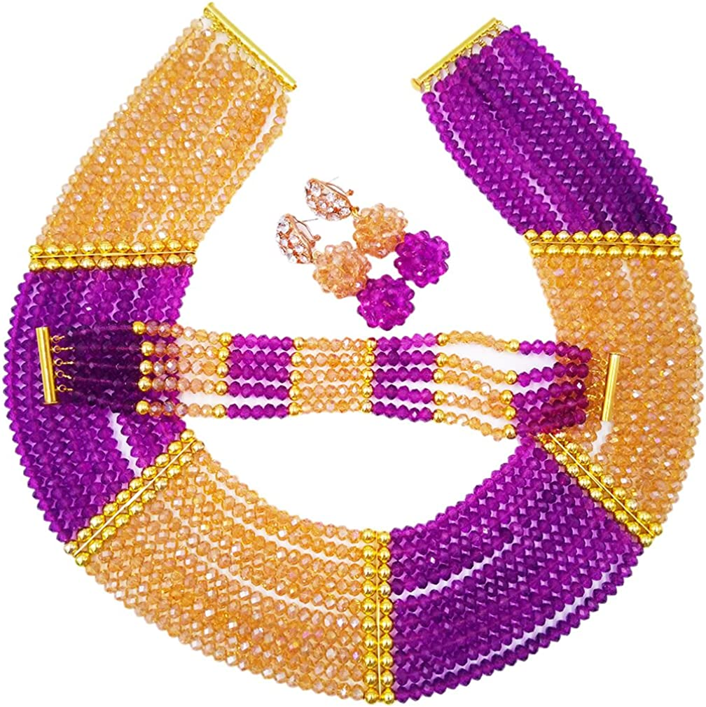 Nigerian Wedding Max 90% OFF Crystal Beaded Necklace Easy-to-use B Beads African Costume