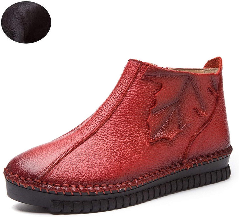 colorful Dream- Plus Size 35-43 Autumn Winter Women Boots Soft Genuine Leather Flat Ankle Boots Women Warm Casual shoes Zip Short Boots,Short Plush,10
