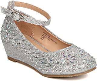 Little Angel Girls Glitter Rhinestone Wedge
