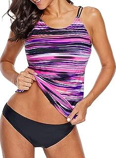 Sidefeel Women Floral Blouson Swimwear T-Back Tankini Top(No Bottom)