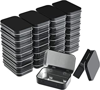 Aybloom Metal Rectangular Empty Hinged Tins - Black Mini Portable Box Containers Small Storage Kit & Home Organizer, Blac...