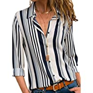 Women Loose Fit Long Sleeve Collared Color Block Tunic Blouse Tops Shirts Small 4 6 White