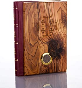 Jerusalem Olive Wood English Bible from Bethlehem with Holy Soil King James Red Letter Edition