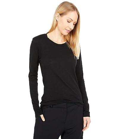 bobi Los Angeles Slubbed Jersey Long Sleeve Scoop Neck Tee (Black) Women