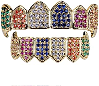 Hip Hop Teeth Grillz Gold Silver Color Plated Micro Pave Rainbow CZ Stones Top and Bottom Mouth Teeth Grills Sets