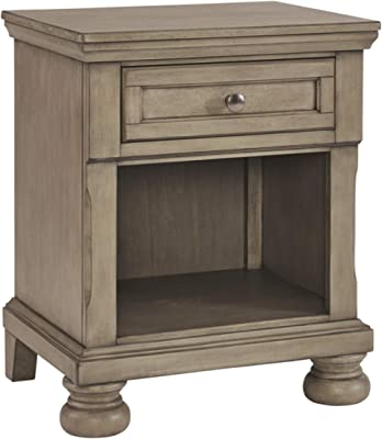 Signature Design by Ashley Lettner Nightstand, 2 Drawer, Light Gray