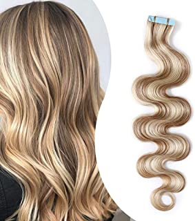 Elailite® Extensiones Adhesivas Rizadas Pelo Natural Cabello Humano Balayage 2g 20 Piezas 40g Ondulada Body Wave Tape in 100% Remy Human Hair - 14 Pulgada 35CM #18/613 Rubio