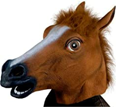 Deluxe Novelty Halloween Costume Party Latex Animal Head Mask -Brown Horse