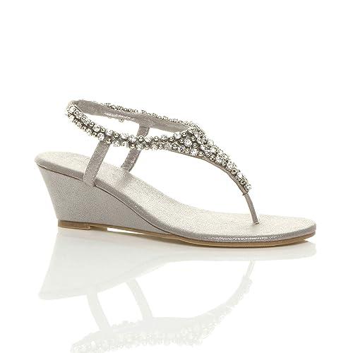 5b877b90678 Ajvani Womens Ladies mid Wedge Heel Slingback Beaded Diamante Jewelled  t-bar Toe Post Sandals