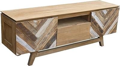 Solid Recycled Teak Wood Art Deco Dresser, Media Center, TV Stand