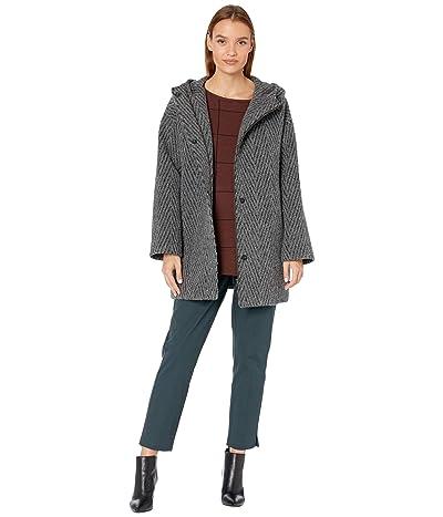 Eileen Fisher Lofty Alpaca Chevron Hooded Coat (Ash) Women