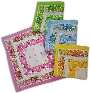 GRAPPLE DEALS Women's Girls Handkerchiefs Vintage Floral Print Blossom Flower Cotton Hankey (Multicolor) (6 Pcs)