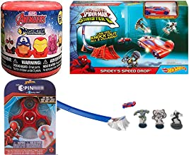 Knock Out Spider-Man Speed Drop playset Hot Spidey's Stunt Car Bundled with Soft Figure Blind Capsule 3 Item Toys