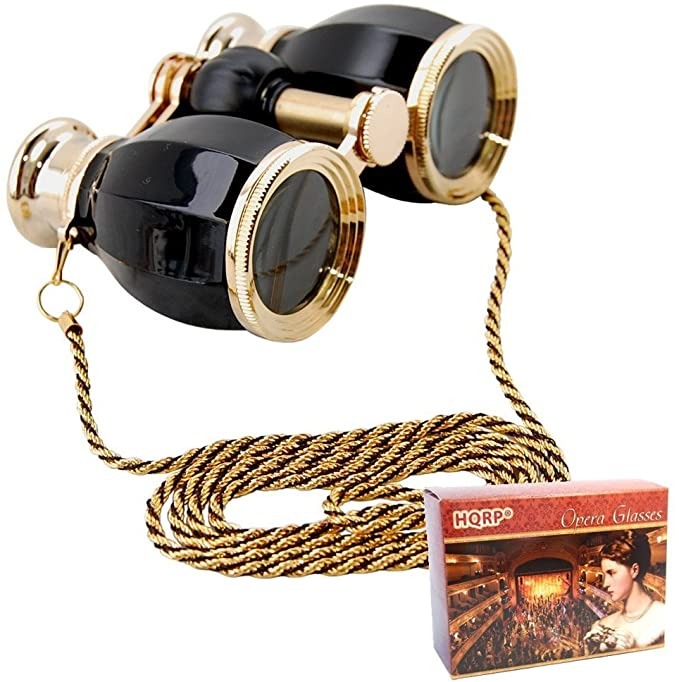 Steampunk Accessories | Goggles, Gears, Glasses, Guns, Mask HQRP Theater Glasses Binoculars Antique Style Black Pearl with Gold Trim w/Necklace Chain with Crystal Clear Optics (CCO)  AT vintagedancer.com
