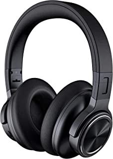 Falwedi Active Noise Cancelling Headphones APT-X CVC8.0 48H Music Playtime Wireless Bluetooth Headphones with Microphone Type-c Fast Charging Deep Bass Over Ear Headset for Travel/Work, Black
