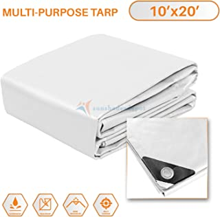 TANG Sunshades Depot 10 x 20 Feet Heavy Duty 10 Mil White Cover Tent Shelter Camping Tarpaulin Multi Purpose Waterproof Poly Tarp Cover Reinforced Rip-Stop with Grommets