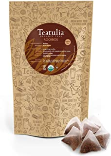 Teatulia Organic Rooibos Herbal Tea 50ct Premium Pyramid Tea Bags - Brew Hot or Cold Compostable Corn-Silk Bags
